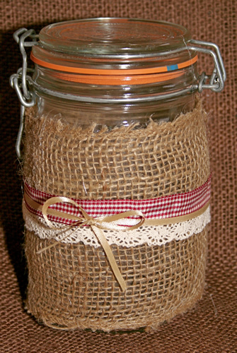 Grandma's Burlap Jar with Red Ribbon