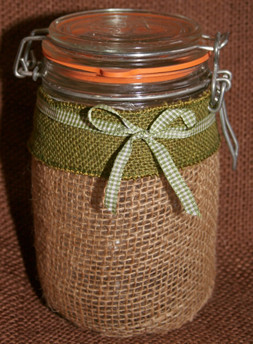 Grandma's Burlap Jar with Green Ribbon